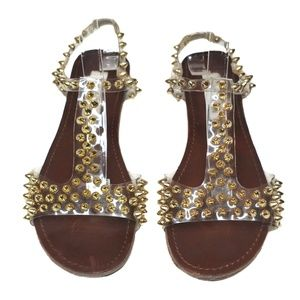 Steve Madden Clear Nickiee Studded Sandals 7.5